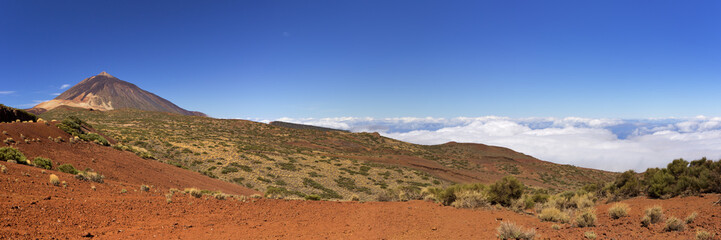 Mount Teide peak on Tenerife above the clouds