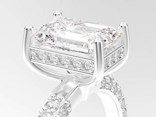 3D illustration isolated zoom macro white gold or silver engagement ring with diamonds