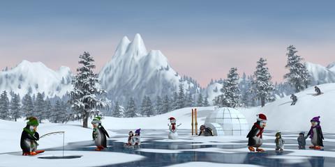 Penguins in a snowy mountain landscape, 3d render