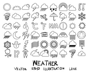 Vector illustration set of weather line icons with white background eps10