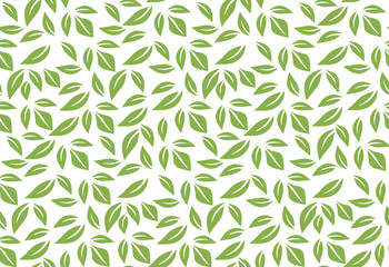 Greenery leaf seamless pattern background illustration. Spring color 2017, eco wrapping paper design Wall mural