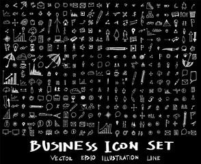 Business, marketing, finance hand draw sketch vector doodle icons set on blackboard eps10