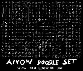 Arrow hand draw sketch vector doodle icons set on blackboard