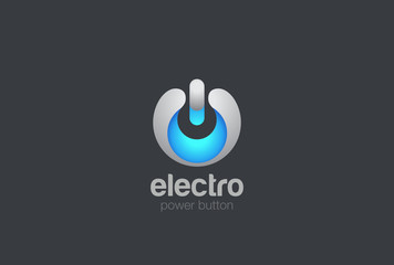 Power button Logo design vector. Hi-tech digital style