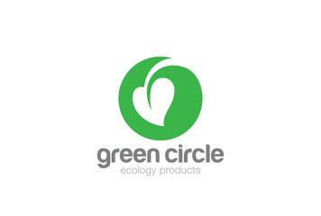 Eco Green Leaf Circle Logo vector Natural Organic Plant icon