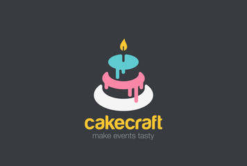 Cake Bakery Logo vector. Birthday event sweet shop icon