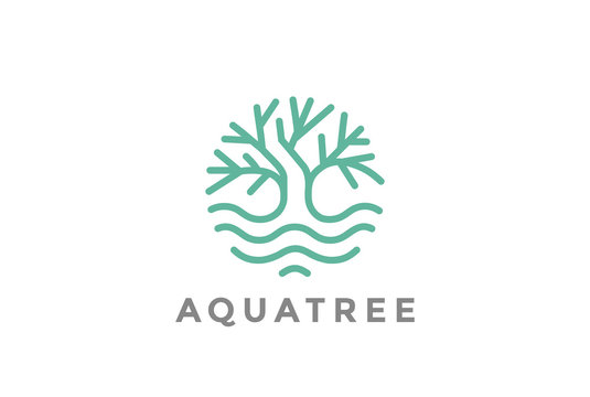Green Tree water Logo Linear. Garden nature Forest icon circle