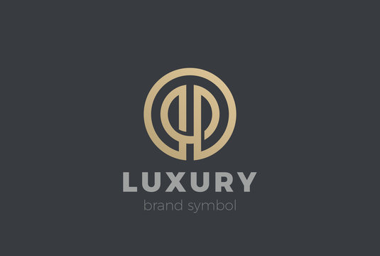 Circle abstract Linear Logo vector Fashion Luxury Corporate icon