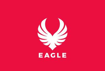 Eagle Wings Logo vector Heraldic flying Falcon Phoenix Hawk bird