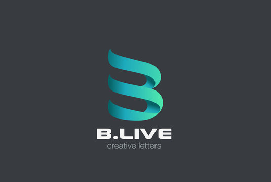 Letter B ribbon Logo vector. Media Corporate Business icon