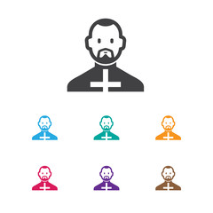 Vector Illustration Of Dyne Symbol On Reverend Icon. Premium Quality Isolated Pope Element In Trendy Flat Style.
