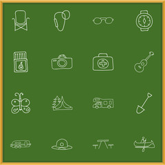 Set Of 16 Editable Travel Doodles. Includes Symbols Such As Beach Hat, Boat, Beauty Insect And More. Can Be Used For Web, Mobile, UI And Infographic Design.
