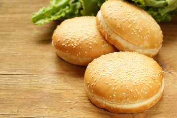 Buns for hamburgers with sesame seeds