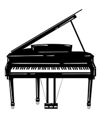 Vector illustration of a piano. Keyboard musical instrument. Stylized grand piano. Musical emblem. Black and white logo.