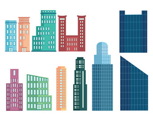 A set of modern houses. Collection of houses in cartoon style. Skyscrapers and business centers. Multi-story houses. Vector illustration.