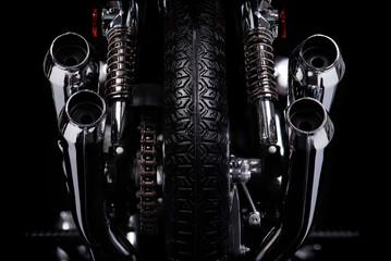 Klassisches Motorrad 1970er Jahre Rückansicht