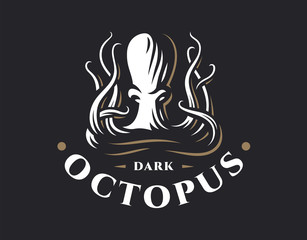 Octopus logo - vector illustration. Emblem design on dark background