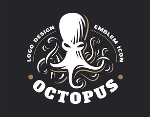 Octopus logo - vector illustration. Emblem design on black background
