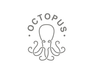 Octopus logo - vector illustration. Emblem design on white background