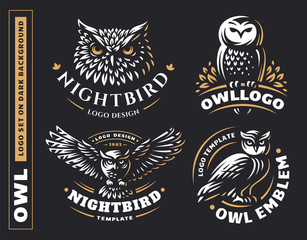 Foto op Plexiglas Uilen cartoon Owl logo set- vector illustrations. Emblem design on black background