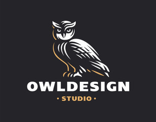 Owl logo- vector illustration. Emblem design on black background