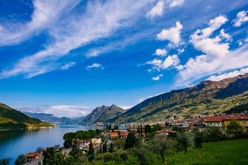 View of Lake Iseo, Italy, the Alps. Wall mural