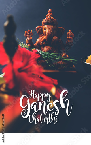 Happy ganesh chaturthi greeting card showing photograph of lord happy ganesh chaturthi greeting card showing photograph of lord ganesha idol pooja or puja thali m4hsunfo