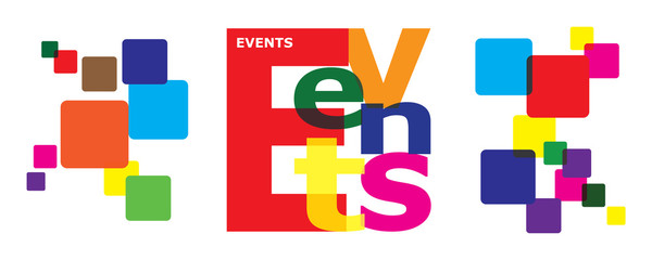 EVENTS word letter collage for corporate calendar coming up.