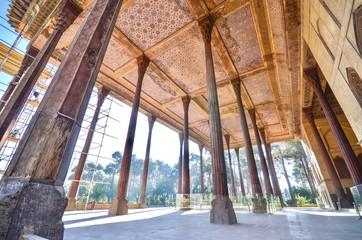 Wooden Columns of Chehel Sotoun Palace in Isfahan, Iran