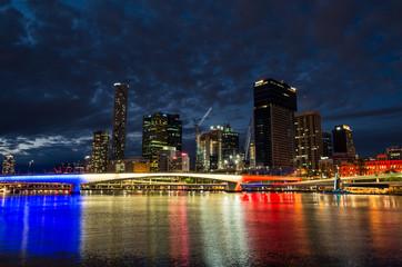 Brisbane skyline illuminated in French colours celebrating Bastille Day.