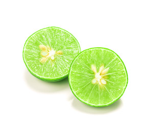 fresh sliced lime with seed on the white background