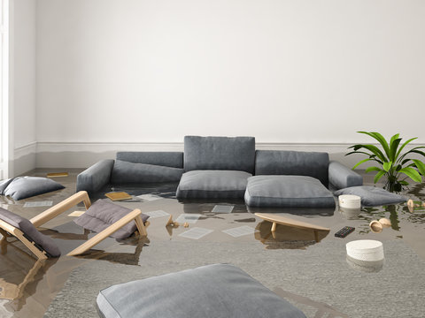flood in brand new apartment. 3d rendering