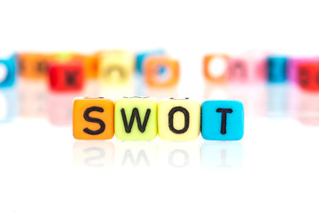 colorful word cube of  SWOT, the  business analysis for Strengths, Weaknesses, Opportunities , Threats concept , on a white background