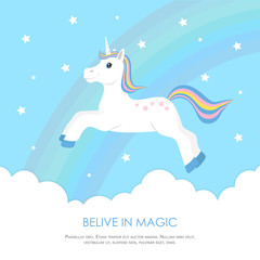 Cute unicorn jumping in the clouds on the background of rainbow and stars. Concept design sweet dreams child. Template for greeting card, invitation, banner.