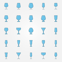 Colorful glasses icons set