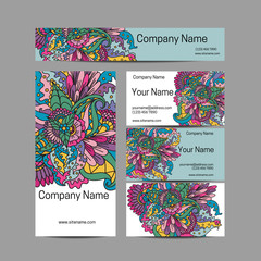 Doodl flower style business card set. Corporate identity.