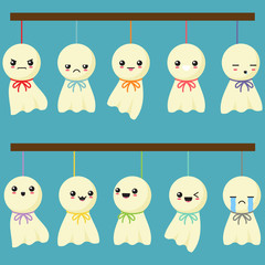 Cute Japanese Hang Dolls In Blue Background