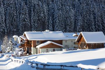 Wall Mural - Alpine village in winter. Austrian alps