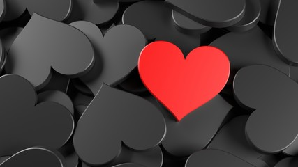 Black and red hearts background. Women's Day theme. 3D Rendering.