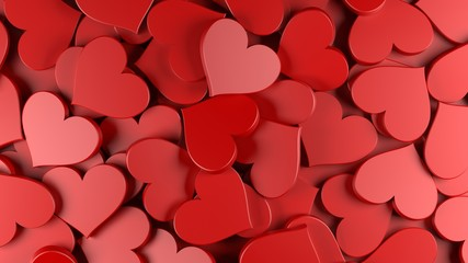 Red hearts background. Women's Day theme. 3D Rendering.