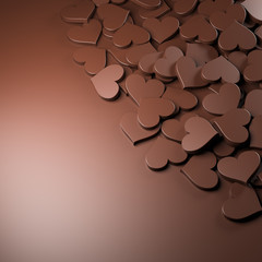 Milk chocolate hearts background. Women's Day theme. 3D Rendering.