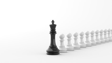 Leadership concept, black king of chess, standing out from the crowd of white pawns. 3D Rendering.