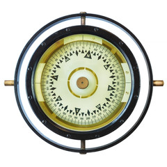 Authentic ancient ship compass isolated on white