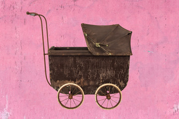 Vintage brown baby stroller