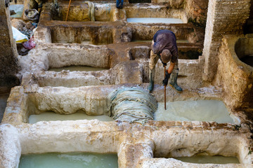 A worker tanning skin into leather in a tannery, Fez, Morocco