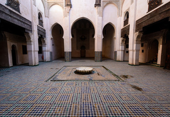Inner Yard (Riad) with colorful tiles on the floor, Morocco
