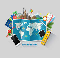 Travel and tourism background. Travel concept, ready for Summer. Top view. Concept website template. Eps10