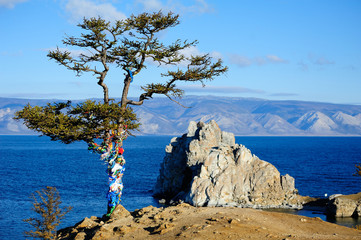 Tree of desires on cape Burhan of Olkhon Island