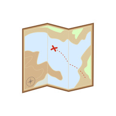 flat color Map icon. Treasure map icon
