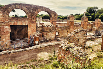 Archaeological Roman landscape in Ostia Antica - Rome - Italy